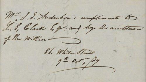 2058013: AUDUBON, JOHN JAMES. Autograph Endorsement Sig