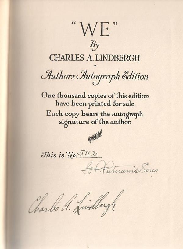 "2058020: (AVIATION.) LINDBERGH, CHARLES A. ""We."""