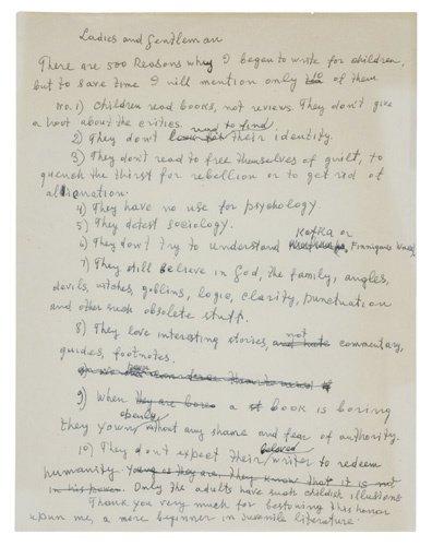 2058292: SINGER, ISAAC BASHEVIS. Autograph Manuscript,