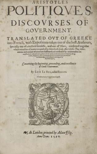 2059015: ARISTOTLE.  1598  Aristotles Politiques, or Di