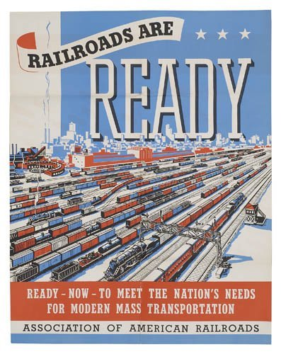 2066012: Poster. ANONYMOUS. [AMERICAN RAILROAD POSTERS.