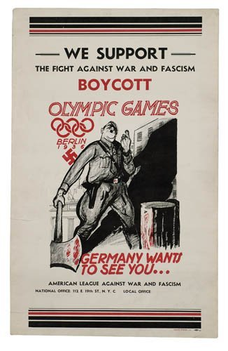 2066016: Poster. ANONYMOUS. BOYCOTT OLYMPIC GAMES. 1936