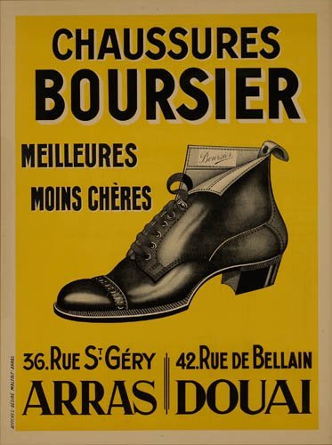2066018: Poster. ANONYMOUS. CHAUSSURES BOURSIER. 62x47