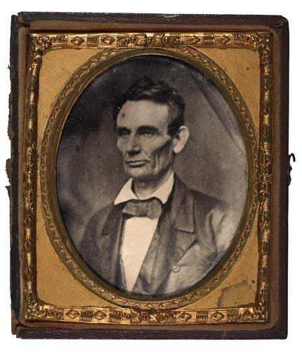 2067001: LINCOLN, ABRAHAM Sixth-plate ruby ambrotype of