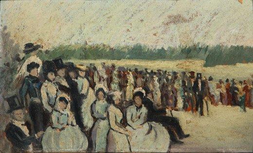 2070003: GIUSEPPE DE NITTIS Spectateurs aux courses.