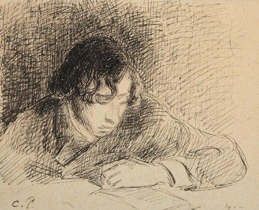 2070011: CAMILLE PISSARRO Jeune garçon à la lecture.