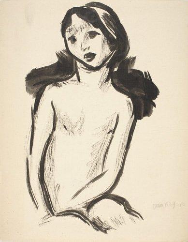 2070475: MAN RAY Seated Female Nude.