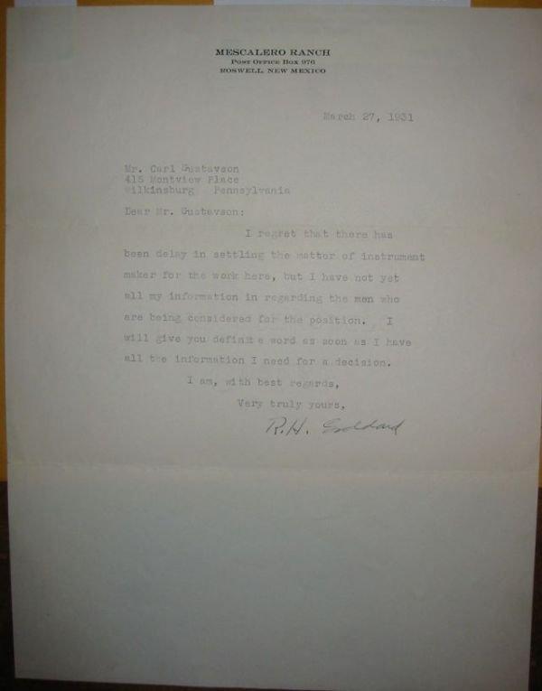 """2073008: GODDARD, ROBERT H. Typed Letter Signed """"R"""