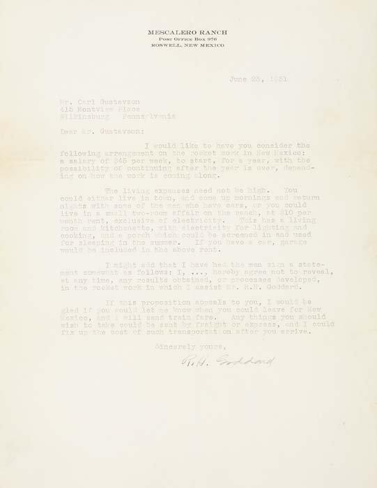 """2073009: GODDARD, ROBERT H. Typed Letter Signed """"R"""