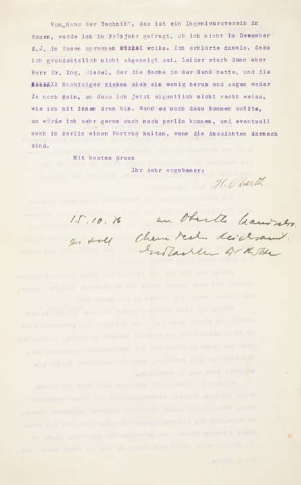 """2073021: OBERTH, HERMANN. Typed Letter Signed """"H"""