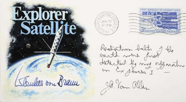 2073321: Explorer Satellite. A cachet with a drawing of