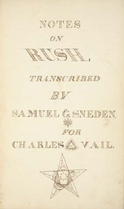 2072247: SNEDEN, SAMUEL. Notes on Rush: Transcribed by