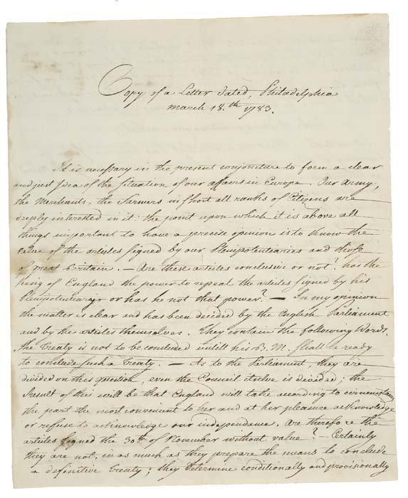 2077001: (AMERICAN REVOLUTION.) Manuscript, unsigned an