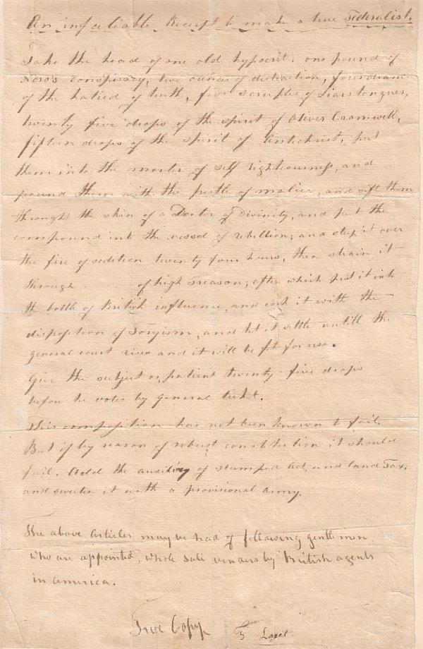 "2077012: (AMERICANA.) Manuscript, titled ""An infatiable"