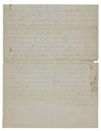 2077014: BARNUM, P. T. Autograph Letter Signed, in penc