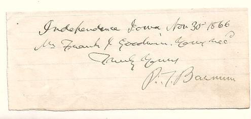 2077015: BARNUM, P. T. Brief Autograph Note Signed,