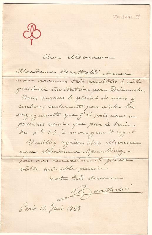 2077016: BARTHOLDI, FREDERIC A. Autograph Letter Signed