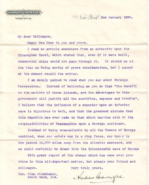 2077021: (BUSINESS.) CARNEGIE, ANDREW. Typed Letter Sig