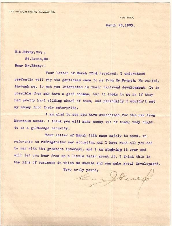 2077023: (BUSINESS.) GOULD, GEORGE JAY. Typed Letter Si