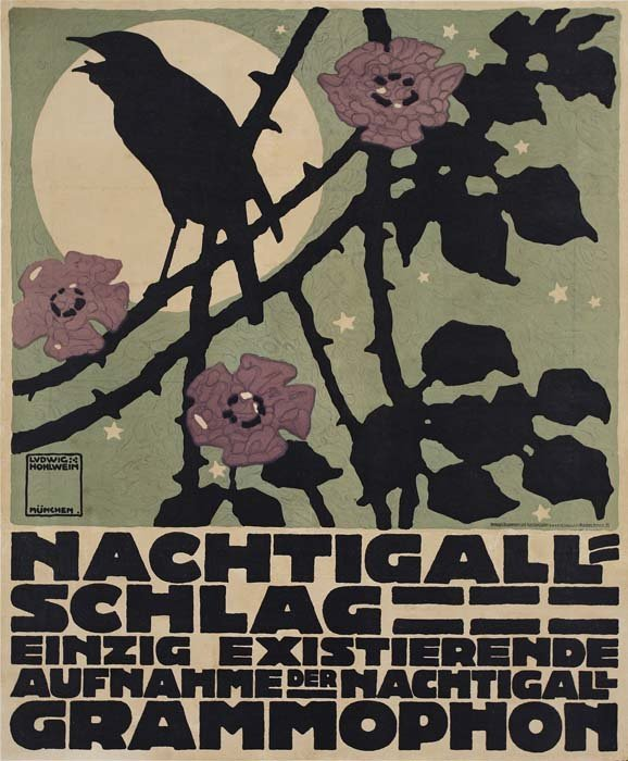 2079021: Poster. LUDWIG HOHLWEIN (1874-1949). NACHTIGAL