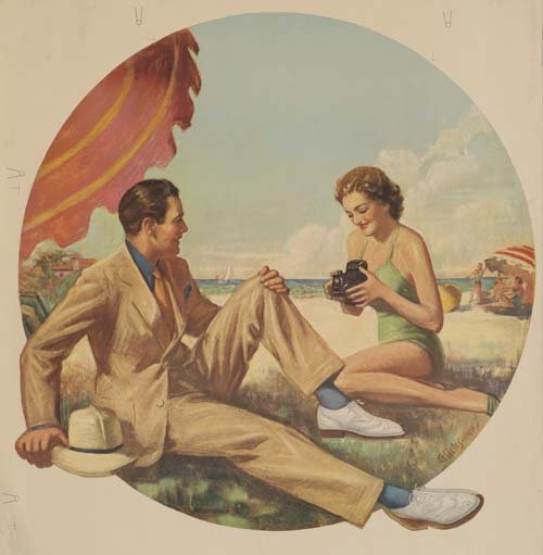 8: Beach Posters. ANONYMOUS. [MAN AND WOMAN ON BEACH.]