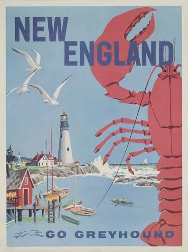 9: Beach Posters. ANONYMOUS. NEW ENGLAND / GO GREYHOUND