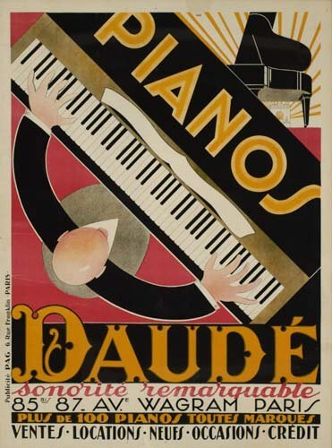 199: Vintage Posters. ANDRE DAUDE PIANOS DAUDE. 63x47 i