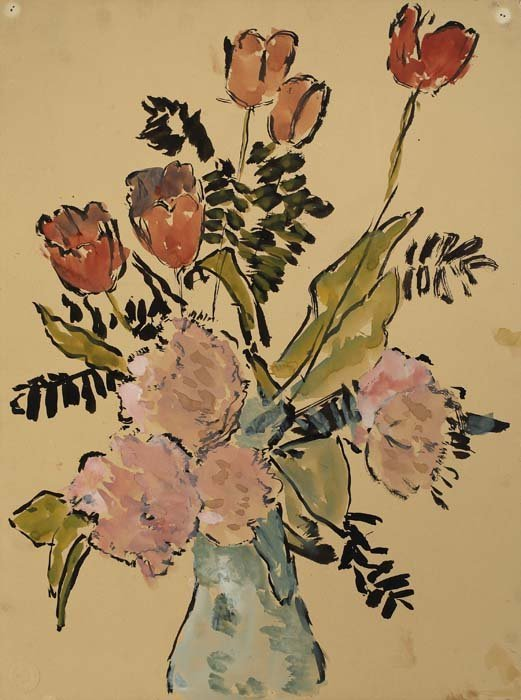 2082013: GIFFORD BEAL Group of 4 floral still life draw