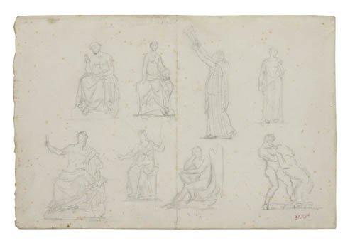 2084002: ANTOINE LOUIS BARYE Group of 9 figure and anim