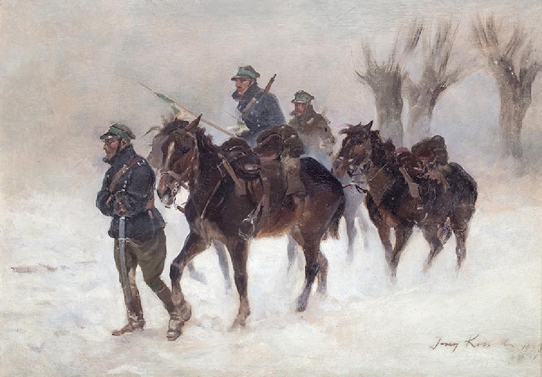 Jerzy Kossak (1886-1955), Winter Patrol