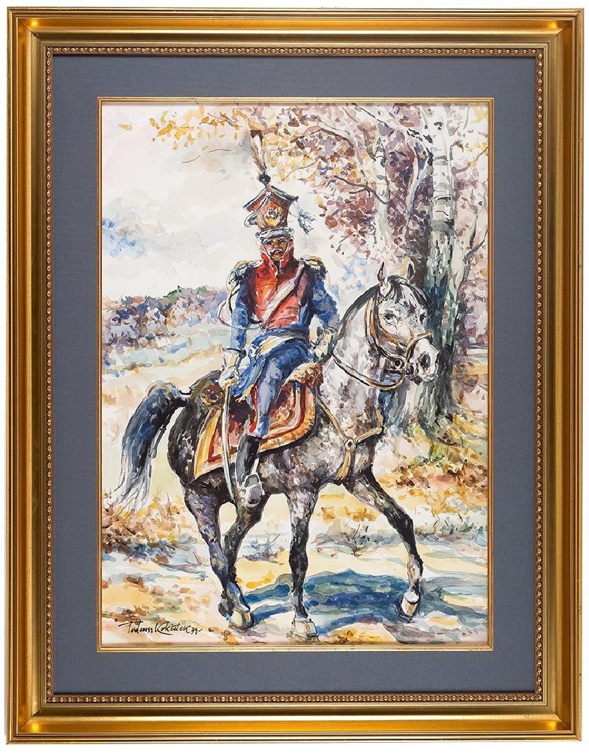 Tadeusz Kokietek (born 1920), Uhlan on a horse, 1979