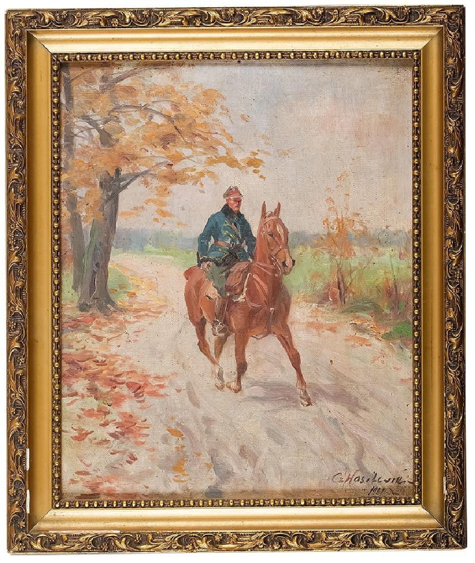 Czeslaw Wasilewski (1875-1947), Uhlan on a horse, 1927