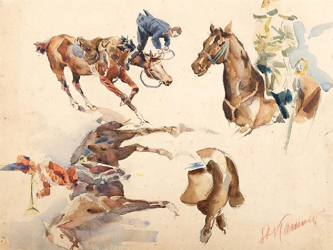 Stanislaw Kamocki (1875-1944), Study of Horse, Torso,