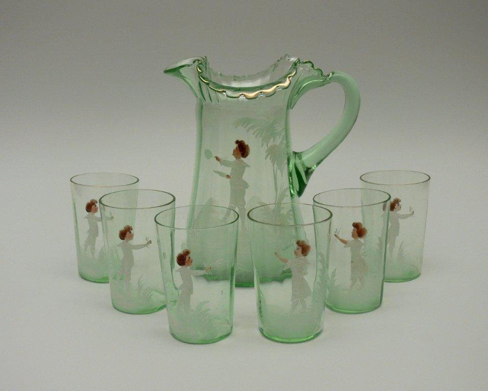 Jug with drinking glasses, circa 1900