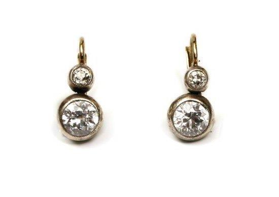 Diamond Earings, 19th/20th century 14-karat gold