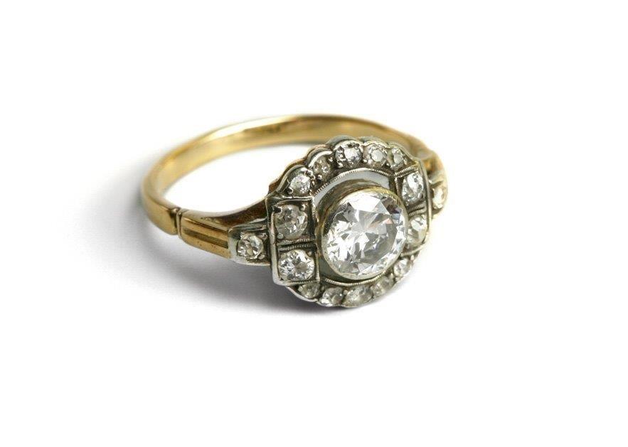 Diamond Ring, mid 19th/20th century 14-karat gold