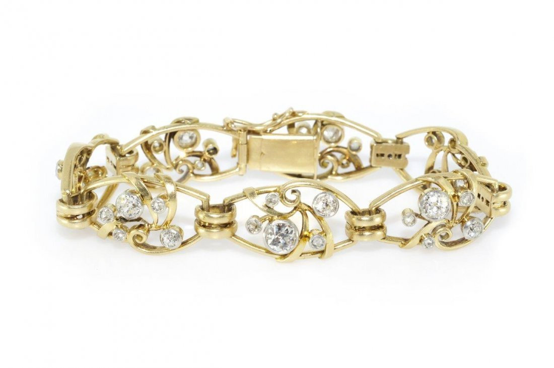 Diamond Bracelet, early 20th century 18-karat gold