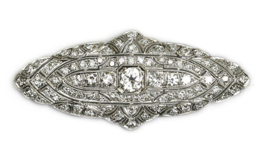 Art Deco Brooch, 1920–30 platinum ca. 0.950, gold