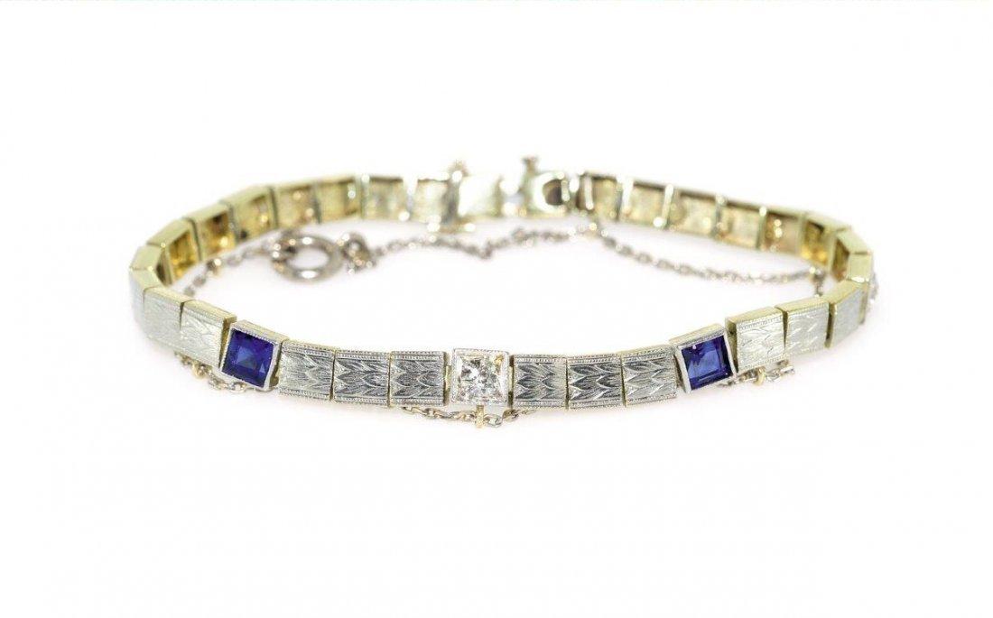 Bracelet gold, 14-karat white gold (0.580)