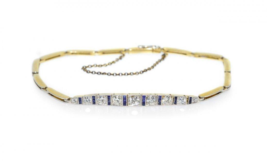 Bracelet 14-karat gold (0.580), platinum, weight 8.93 g
