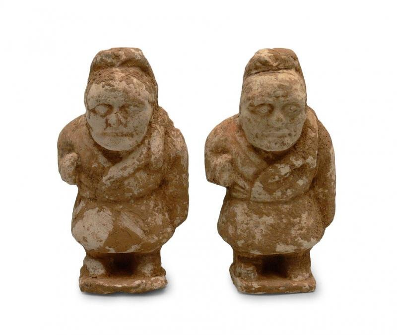 Pair of Chinese Tomb Figurines, Han Dynasty (206 BC -