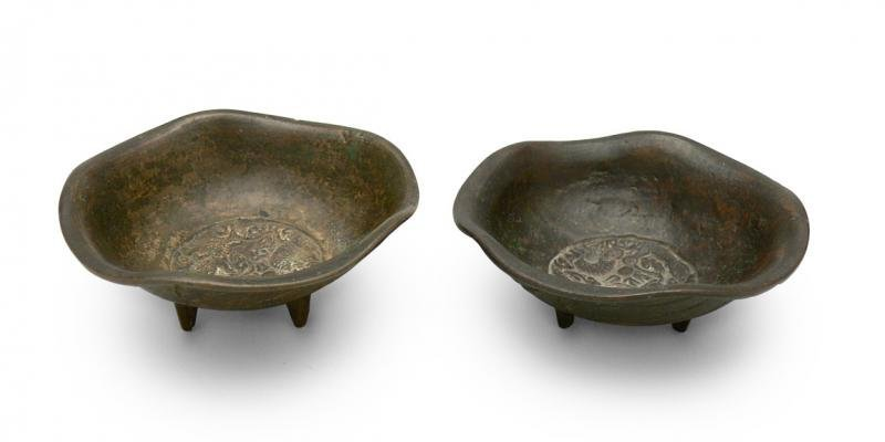 Pair of Chinese Censers, 19th/20th c. bronze with
