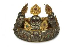 Silver and Gilt Ritual Five Skull Oracle's Crown,