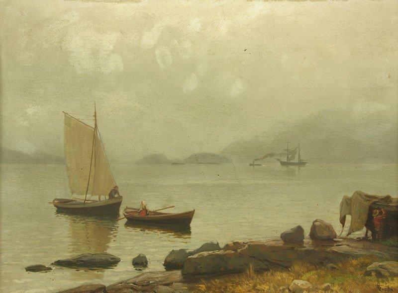 Hans Fredrik Gude (1825 Oslo - 1903 Berlin), A seascape