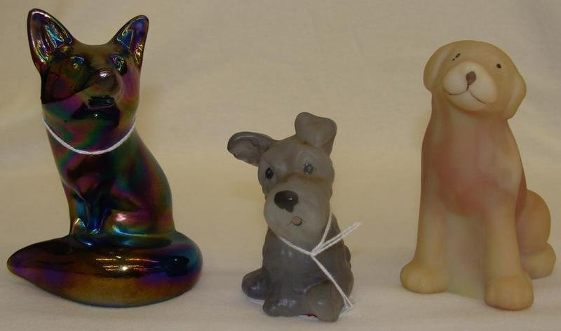 3pcs Fenton Art Glass: Artist Signed Burmese Dog, Artis