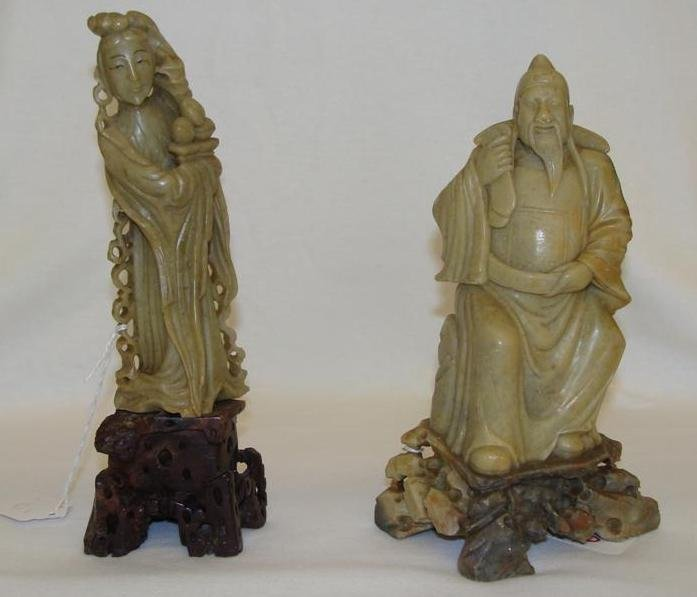 Two Antique Chinese Soapstone Carvings of a Lady & Gent