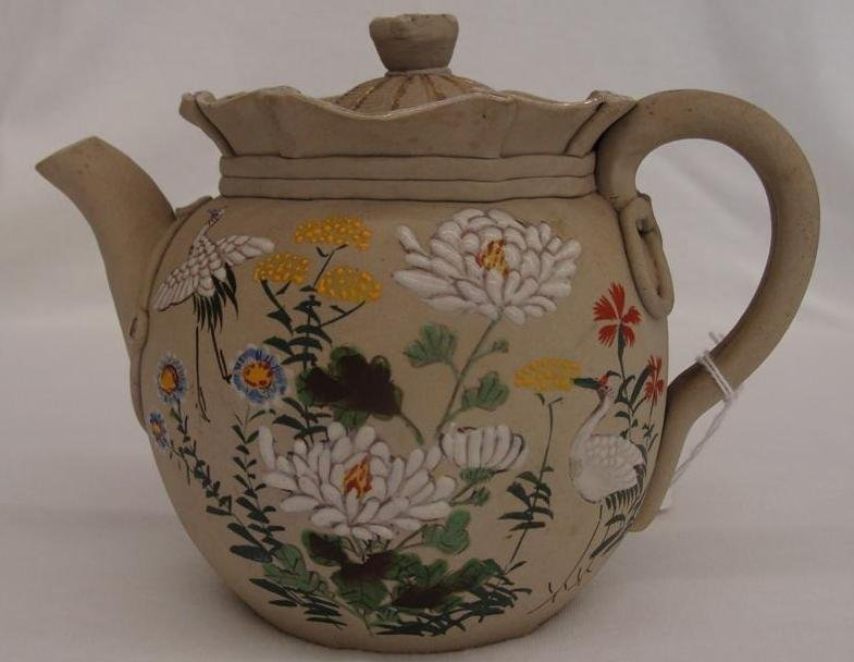 Antique Japanese Bancoware Teapot with Moriage Bird & F