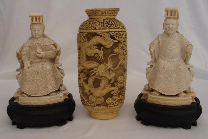3 Orientals: Emperor & Empress Figurines & Vase, All Ma