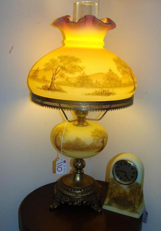 Fenton Art Glass Lamp & Clock Hand painted by Gloria Fi