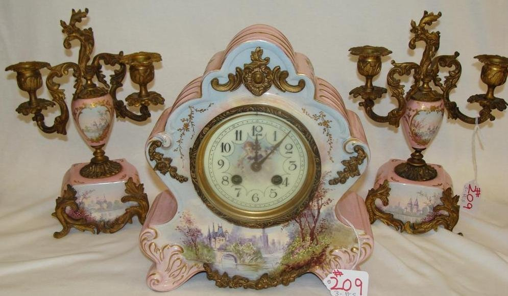 3pc French Porcelain & Gilded bronze Clock Garniture: I